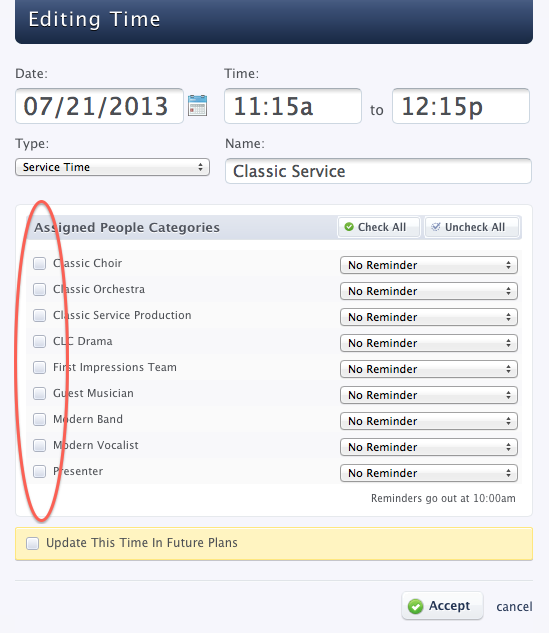 Planning Center Services - Editing Time Window - unchecked Assigned People Categories