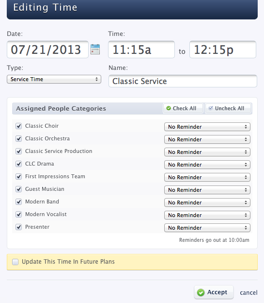 Planning Center Services - Editing Time Window - checked Assigned People Categories