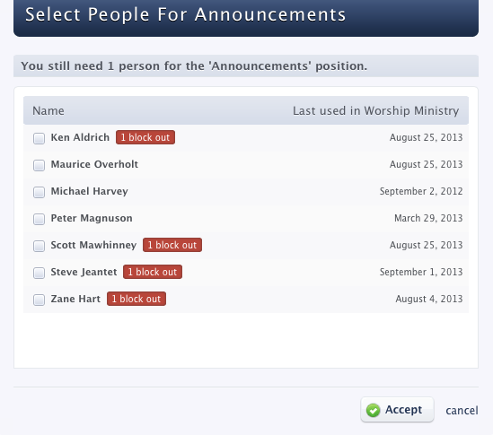 Planning Center Services - Select People for Announcements - blocked out dates