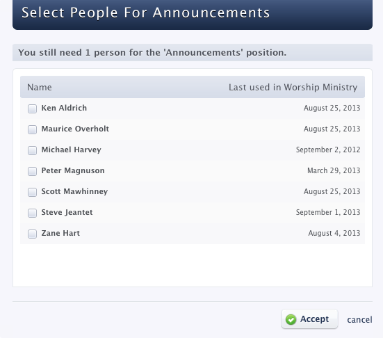 Planning Center Services - Select People for Announcements Window - no blocked out dates